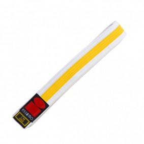 Judo banden - Judo slippen - Witte judobanden - kopen - Essimo judo band bicolor wit/geel