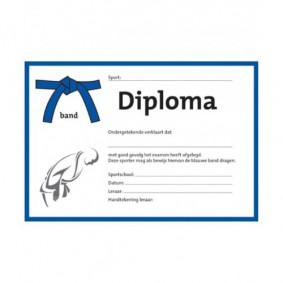 Accessoires - Diploma's - kopen - Judo diploma blauwe band (per 25 stuks)