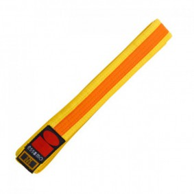Gele judobanden - Judo banden - Judo slippen - kopen - Essimo judo band bicolor geel/oranje