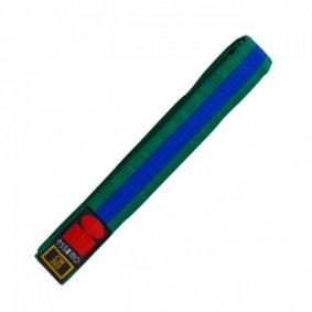 Groene judobanden - Judo banden - Judo slippen - kopen - Essimo judo band bicolor groen/blauw