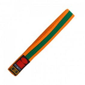 Judo banden - Judo slippen - Oranje judobanden - kopen - Essimo judo band bicolor oranje/groen
