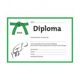 Accessoires - Diploma's - kopen - Judo diploma groene band (per 25 stuks)