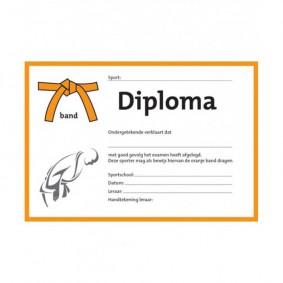 Accessoires - Diploma's - kopen - Judo diploma oranje band (per 25 stuks)