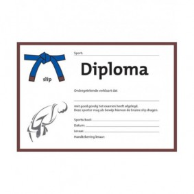 Accessoires - Diploma's - kopen - Judo diploma blauw/bruine slip (per 25 stuks)