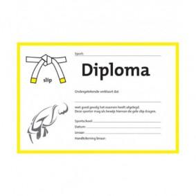 Accessoires - Diploma's - kopen - Judo diploma wit/gele slip (per 25 stuks)