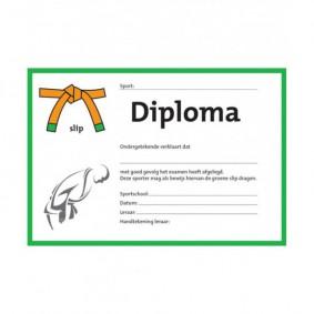 Accessoires - Diploma's - kopen - Judo diploma oranje/groene slip (per 25 stuks)