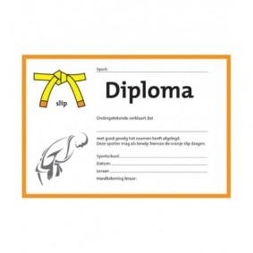 Accessoires - Diploma's - kopen - Judo diploma geel/oranje slip (per 25 stuks)