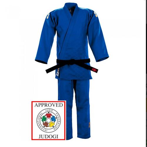 Judopakken - IJF approved judopak - Blauwe Judopakken - Essimo judopakken - Semiwedstrijd- en wedstrijd judopakken - kopen - Essimo IJF Gold 2017 model blauw regular