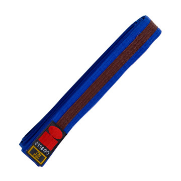 Blauwe judobanden - Judo slippen - Judo banden - kopen - Essimo judo band bicolor blauw/bruin