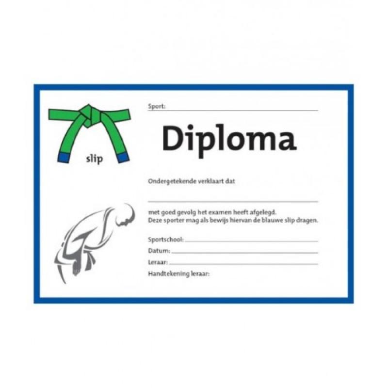 Judo diploma groen/blauwe slip (per 25 stuks)