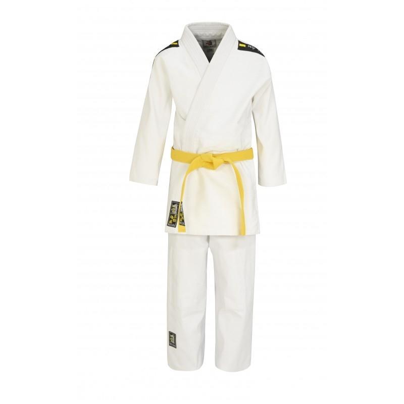 Matsuru Juvo recreatie judopak met zwart/gele schouderbadges